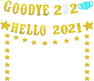 Goodbye 2020 Hello 2021 Banner, Gold Glitter New Years Eve Party Decorations 2021,New Year Decorations,2020 Farewell Banner,New Years Fireplace Mantle Home Decor,Happy New Year Banner