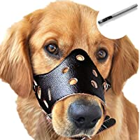 Barkless Dog Muzzle Leather, Comfort Secure Anti-Barking Muzzles for Dog, Breathable and Adjustable, Allows Dringking…