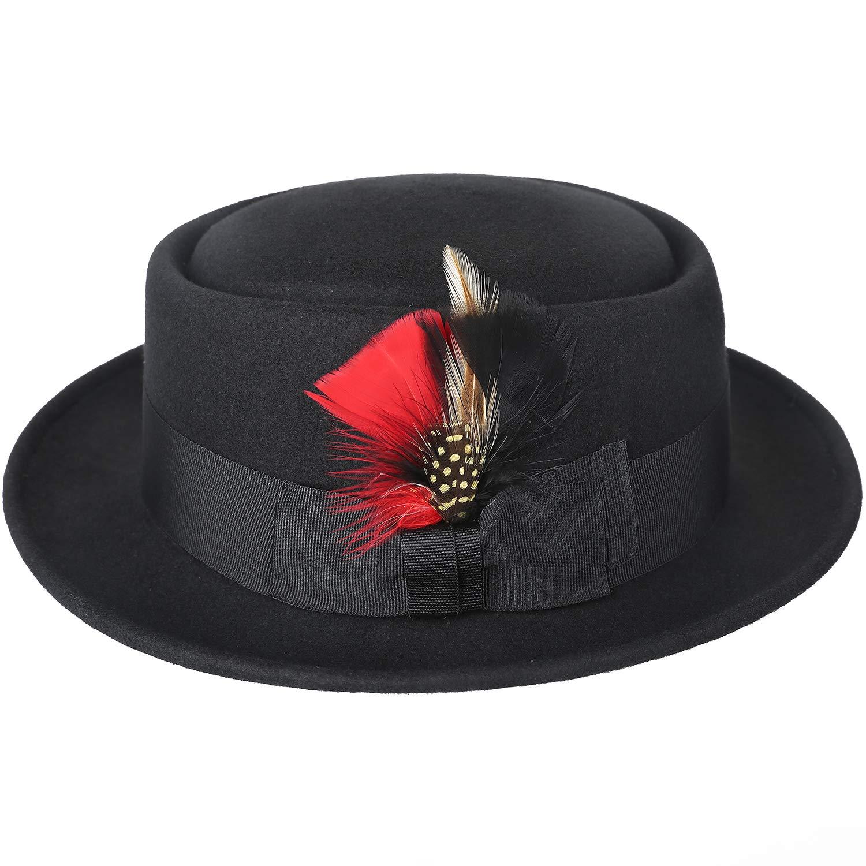 704ade5f55e Amazon.com  Sedancasesa Men s Dress 100% Wool Felt Flat Top Pork Pie Fedora  Hats W Feather  Clothing