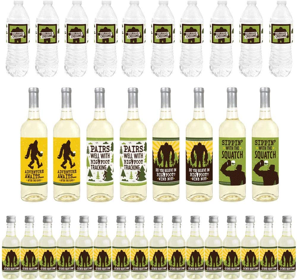 Mini Wine Bottle Labels Wine Bottle Labels and Water Bottle Labels Big Dot of Happiness Sasquatch Crossing 34 Pieces Bigfoot Party or Birthday Party Decorations Beverage Bar Kit