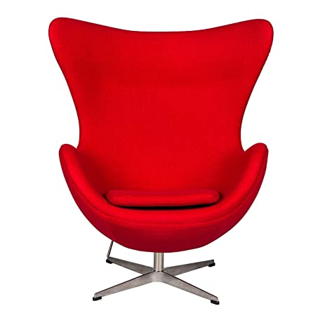 LeisureMod Arne Jacobsen Egg Style Modern Accent Chair (Red Wool)