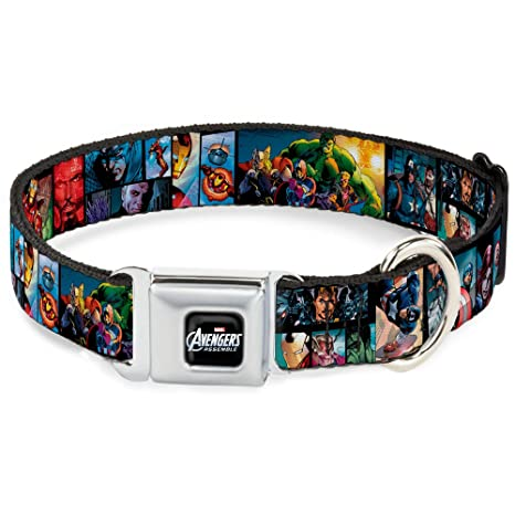 Buckle Down Seatbelt Buckle Dog Collar - Avengers Assemble Comic Book Character Panels - 1""