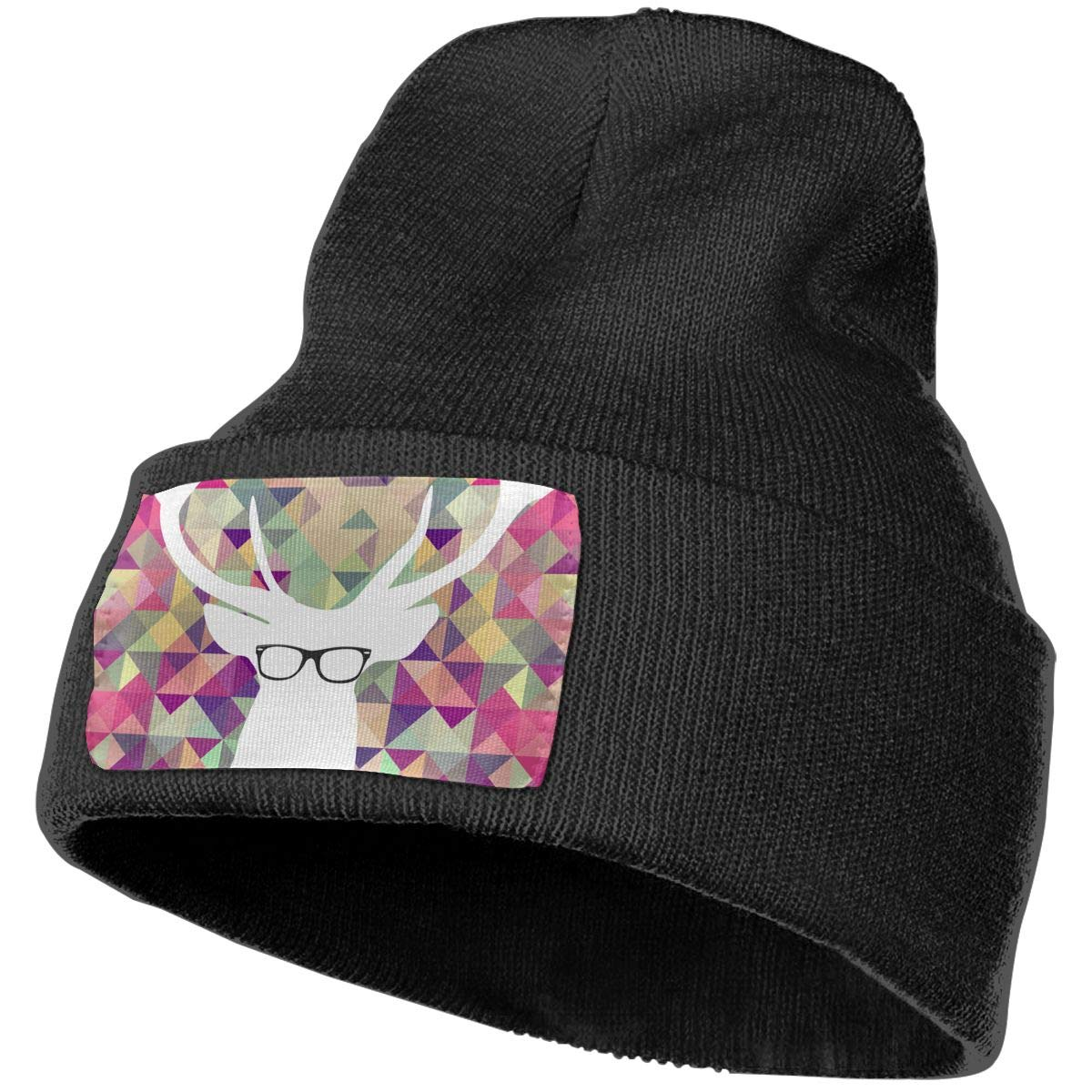 36ab02c641 Amazon.com  Anonymous Guest Knit Hat Cap A Deer Wearing Glasses Skull Cap   Clothing