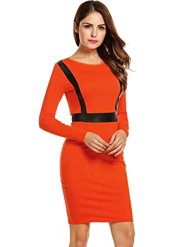 ANGVNS Women Long Sleeve PU Leather Stitching Midi Bodycon Pencil Office Dress