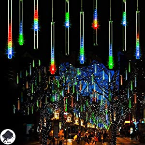 Willor Meteor Shower Rain Lights 23FT 8 Tubes 288 LED Christmas Lights Waterproof Plug in Falling Raindrop Lights Icicle Cascading Lights for Christmas Decoration Holiday Party Home Patio, Multicolor