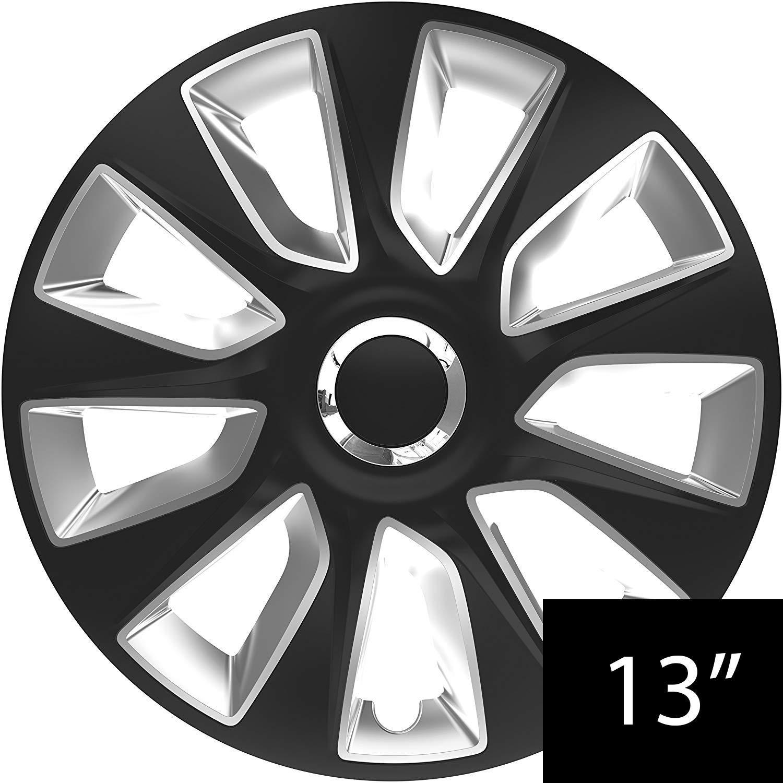 UKB4C 15 Alloy Look Black /& Silver Stripe Multi-Spoke Wheel Trims Hub Caps Covers Protectors