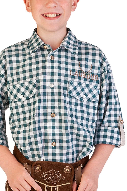 Trachten Kinderhemd - Ki-H026 - LAUSBUB - rot, türkis, petrol
