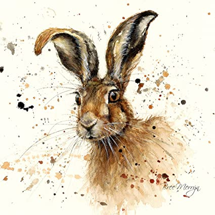 March Hare Rabbit Paint Abstract Animals SINGLE CANVAS WALL ART Picture Print