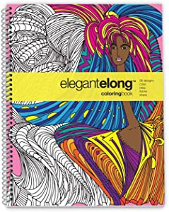 Action Publishing Coloring Book: Elegant Elong · Intricate Designs Inspired by Modern Art for Stress Relief, Relaxation and Creativity · Large Sidebound (8.5 x 11 inches)