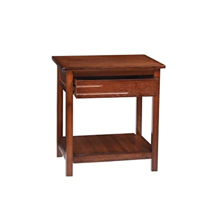 UNICOO-Antique Style Solid Wooden End Table, Sofa Side Table, Bedroom  Nightstand, Plant Stand, Telephone Stand, Vase Stand with Drawer and Shelf.  ...