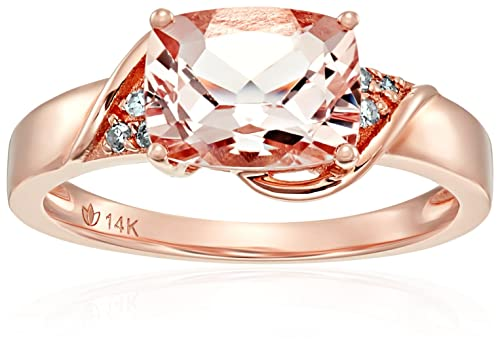 14k Rose Gold Morganite and Diamond Accented East West Cushion Engagement Ring, Size 7