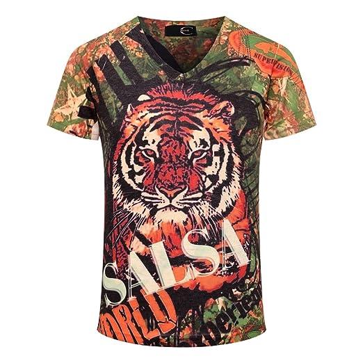 bd867d101a0f JUCA Men s Solid 3D Animals Tiger King Print Slim V-Neck T-Shirt ...