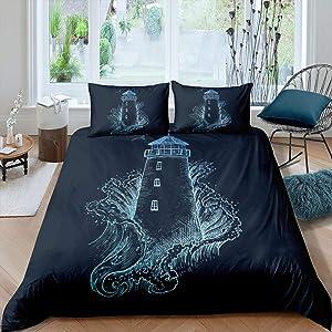 Nautical Lighthouse Duvet Cover, Sea Wave Splash Spray Flying Birds Ocean Navigation Theme Hand Drawn Bedding Set,Decorative 2 Piece Comforter Cover With 1 Pillow Sham, Twin Size, Blue Black