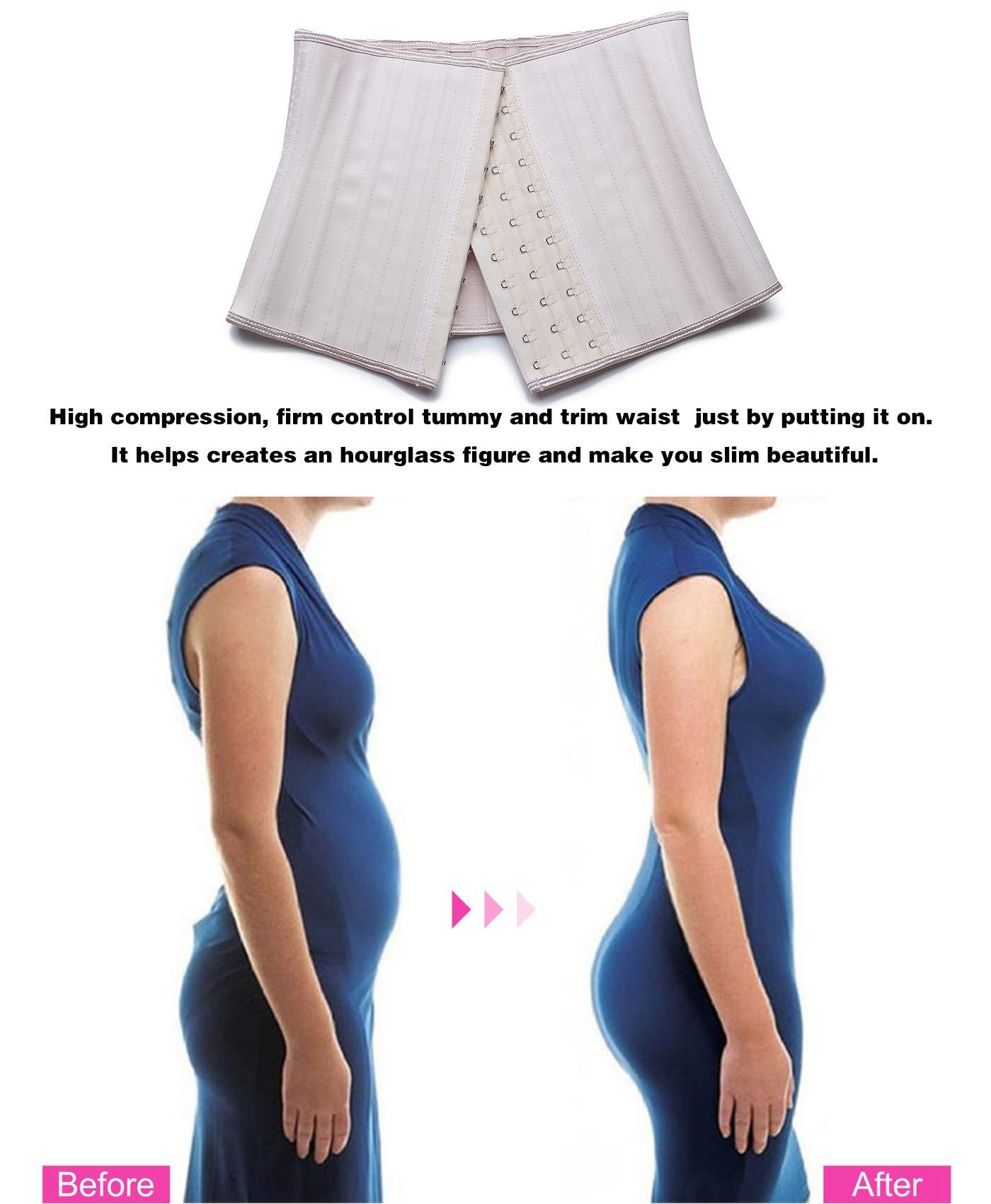 YIANNA Women Latex Short Torso Waist Trainer Corset Workout Slimming Body Shaper