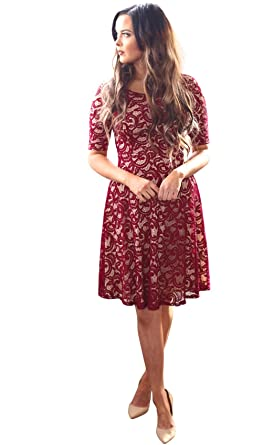 Sloan Modest Dress In Burgundy Lace 829b0dc84