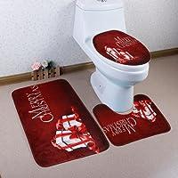 artistic9(TM) 3piceces rutschfeste Badematten Set WC Fuß Pad Sitzbezug Heizkörper Gap für Weihnachten