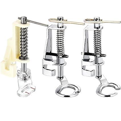 3 Tipos de Prensatelas de Dobladillo Enrollado Pies de Prensatelas de Máquina de Costura de Movimiento