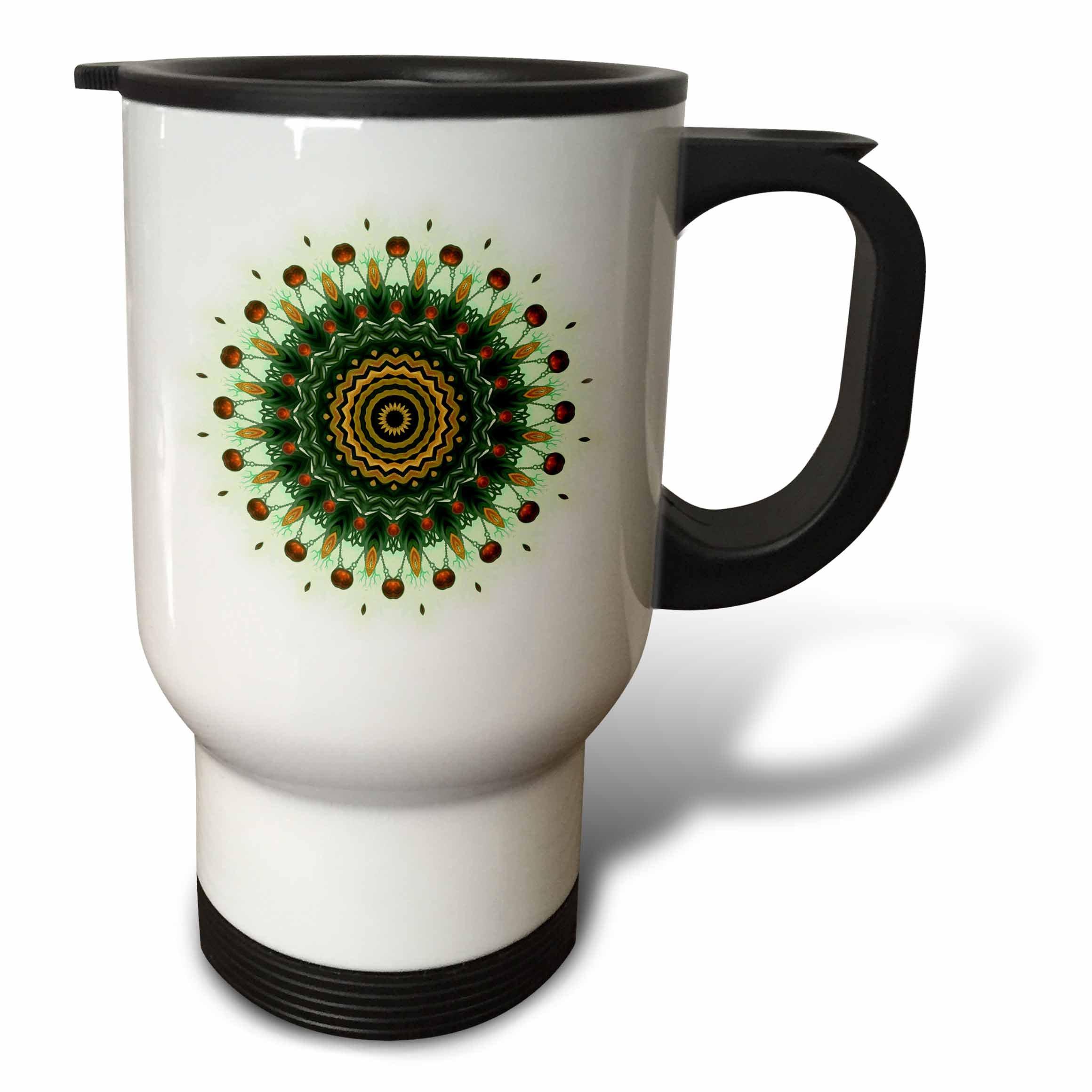 3dRose India Ornament Flake Mandala Stainless Steel Travel Mug, 14-Ounce