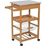 HomCom 31-in. Rolling Wooden Kitchen Trolley Cart with Wine Rack - Granite Top
