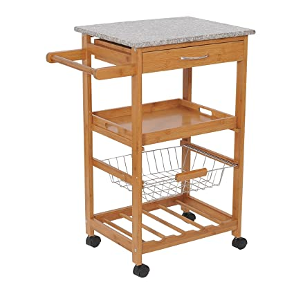HOMCOM 31u201d Kitchen Island Rolling Storage Cart With Granite Top And Fancy  Wine Rack