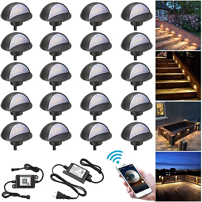 """WiFi Deck Lights Kit, FVTLED WiFi Controlled 20pcs Low Voltage LED Step Lights Kit Φ1.97"""" Stainless Steel Waterproof Outdoor Recessed Railing Light Work with Alexa Google Home, Warm White, Black"""