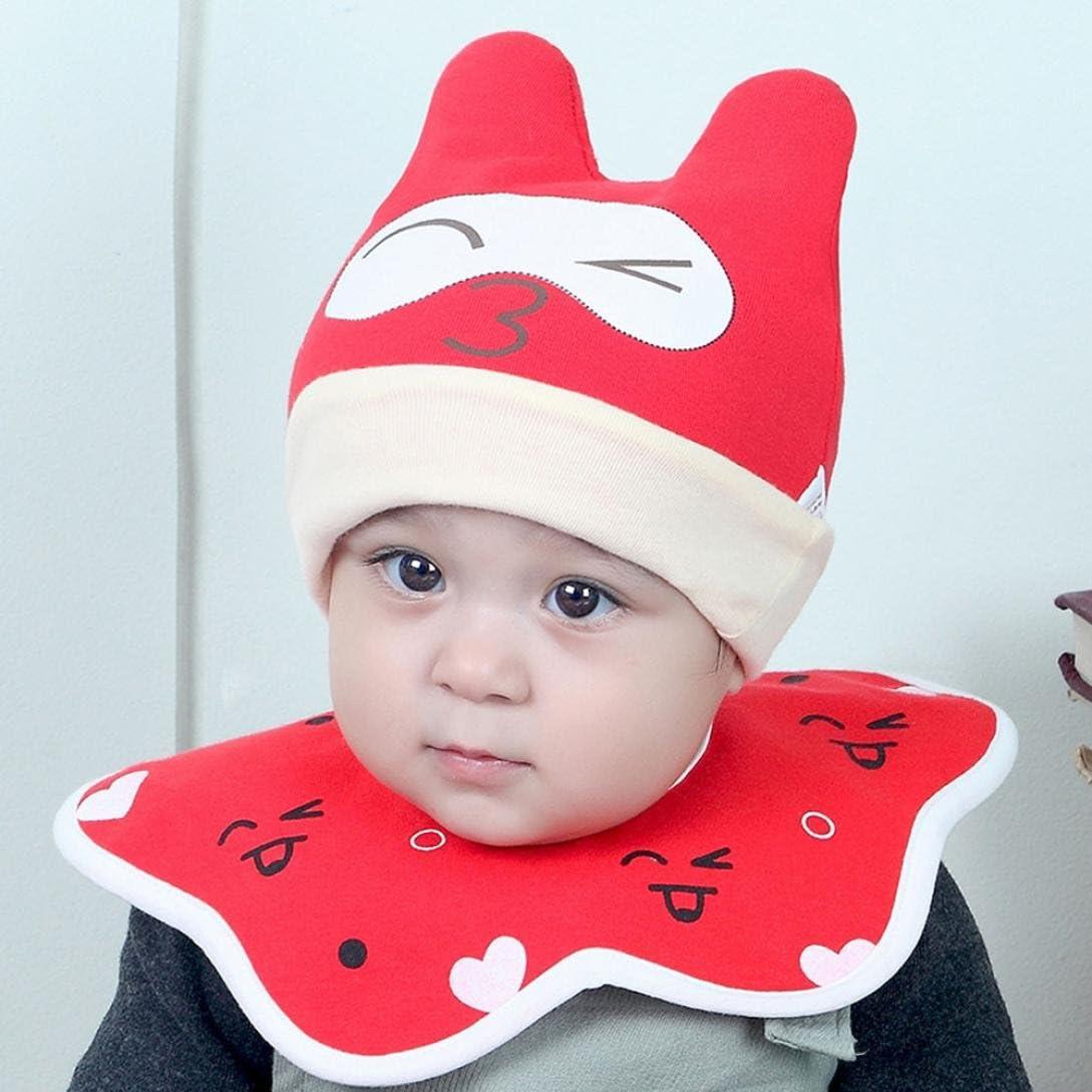 DIGOOD Cotton Baby Boys Girls Cat Hat+Bib Head Scarf Toddler Saliva Set