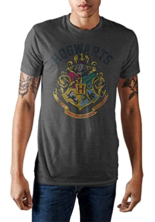 c6c32d71b Harry Potter Hogwarts School Crest Men's Distressed Graphic T-Shirt  (Charcoal Heather, X
