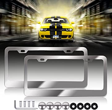 Silver Plastic Frame With Silver Screws Gifts Autos Cars Plate Holder Polished