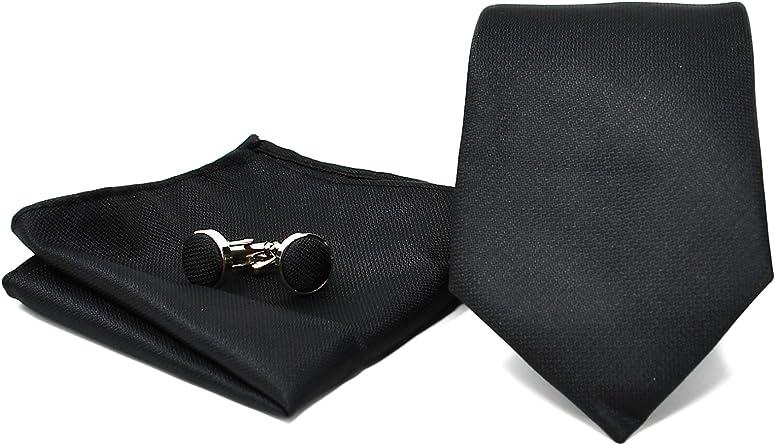 Oxford Collection Corbata de hombre, Pañuelo de Bolsillo y Gemelos Negro - 100% Seda - Clásico, Elegante y Moderno - (Caja y Conjunto de Regalo, ideal ...