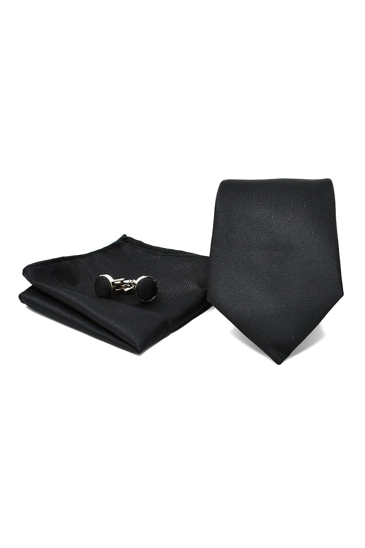 Elegante y Moderno - Cl/ásico 100/% Seda Oxford Collection Corbata de hombre Pa/ñuelo de Bolsillo y Gemelos Negro Caja y Conjunto de Regalo, ideal para una boda, con un traje, en la oficina.