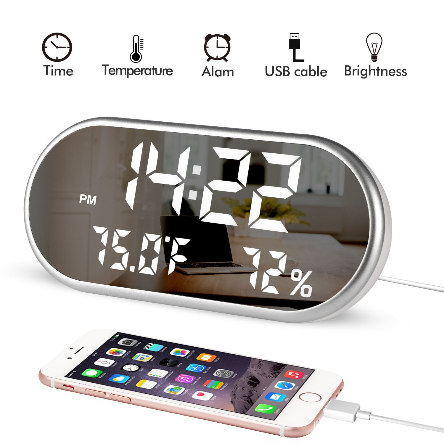 Digital Alarm Clock, Portable Mirror HD LED Display with Time/Humidity/Temperature/Display Function, 3 Brightness Adjustment, Dual USB Port Charging, Suitable for Bedroom, Office, Travel by AONOKOY
