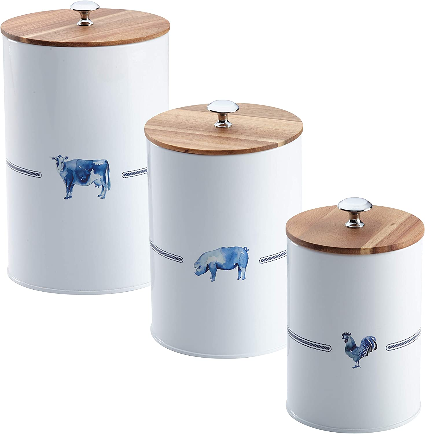 Paula Deen Pantryware Food Storage Container Set / Food Storage Jar Set - 3 Piece, Country Barnyard
