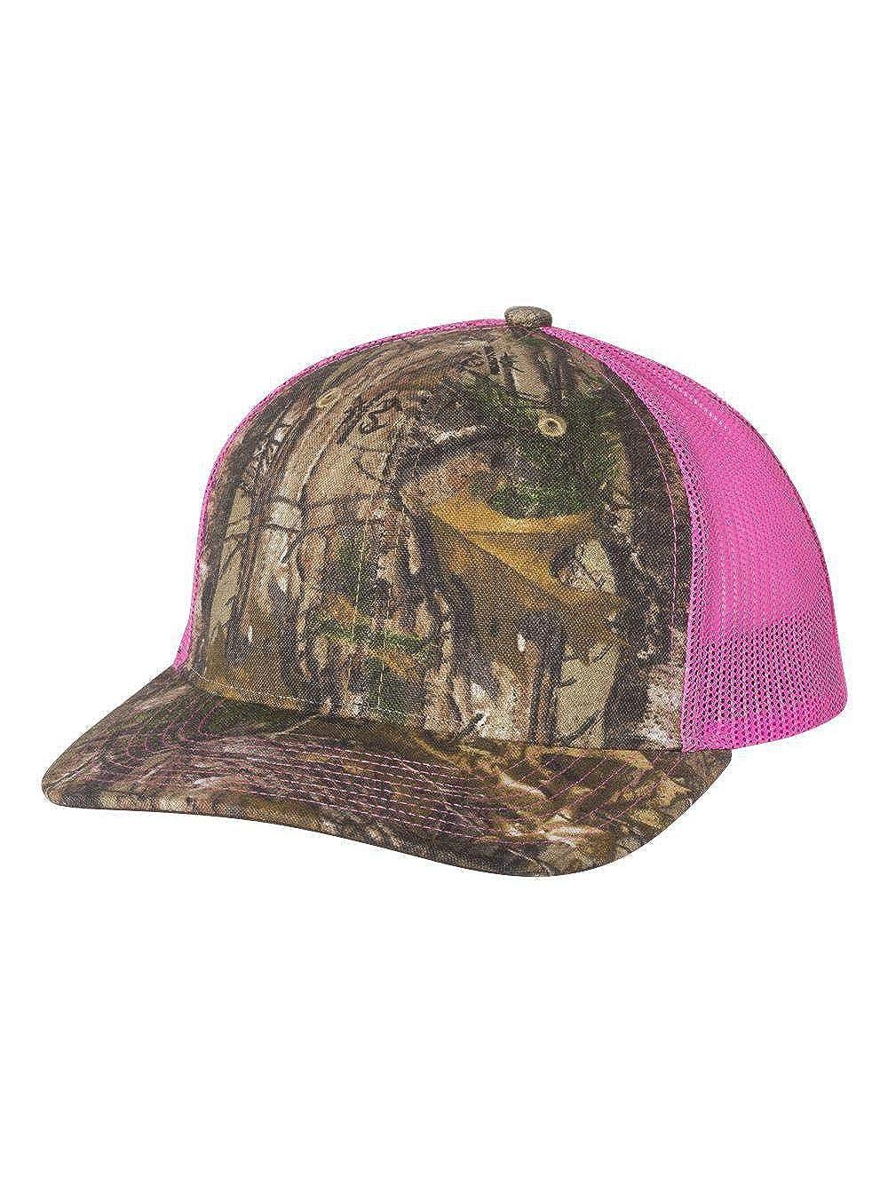 8f3c92b13cc763 Richardson Patterned Snapback Trucker Cap Adjustable Realtree Edge/Neon  Pink at Amazon Men's Clothing store: