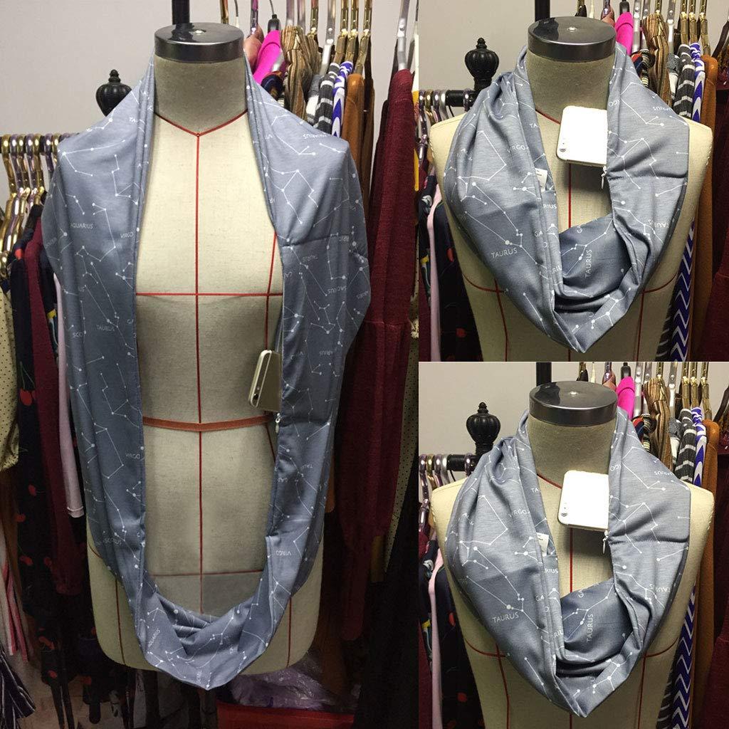 Sciarpa invernale da donna a doppio strato con lettere con cerniera nascosta tinta unita lyqdxd con simbolo della costellazione