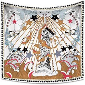Yongto 59.1x59.1 Inches Tarot Tapestry Wall Hanging Trippy Sun Tapestry Hippie Mysterious Medieval Europe Tapestry for Bedroom Liivng Room Home Decor