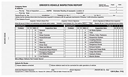 Canadian Driver Vehicle Inspection Form Pack Of 5