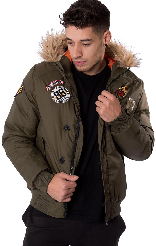 Mens Fur Hooded Jacket Winter Badge Details Zip Up Coat By Juice Sizes S-XXL