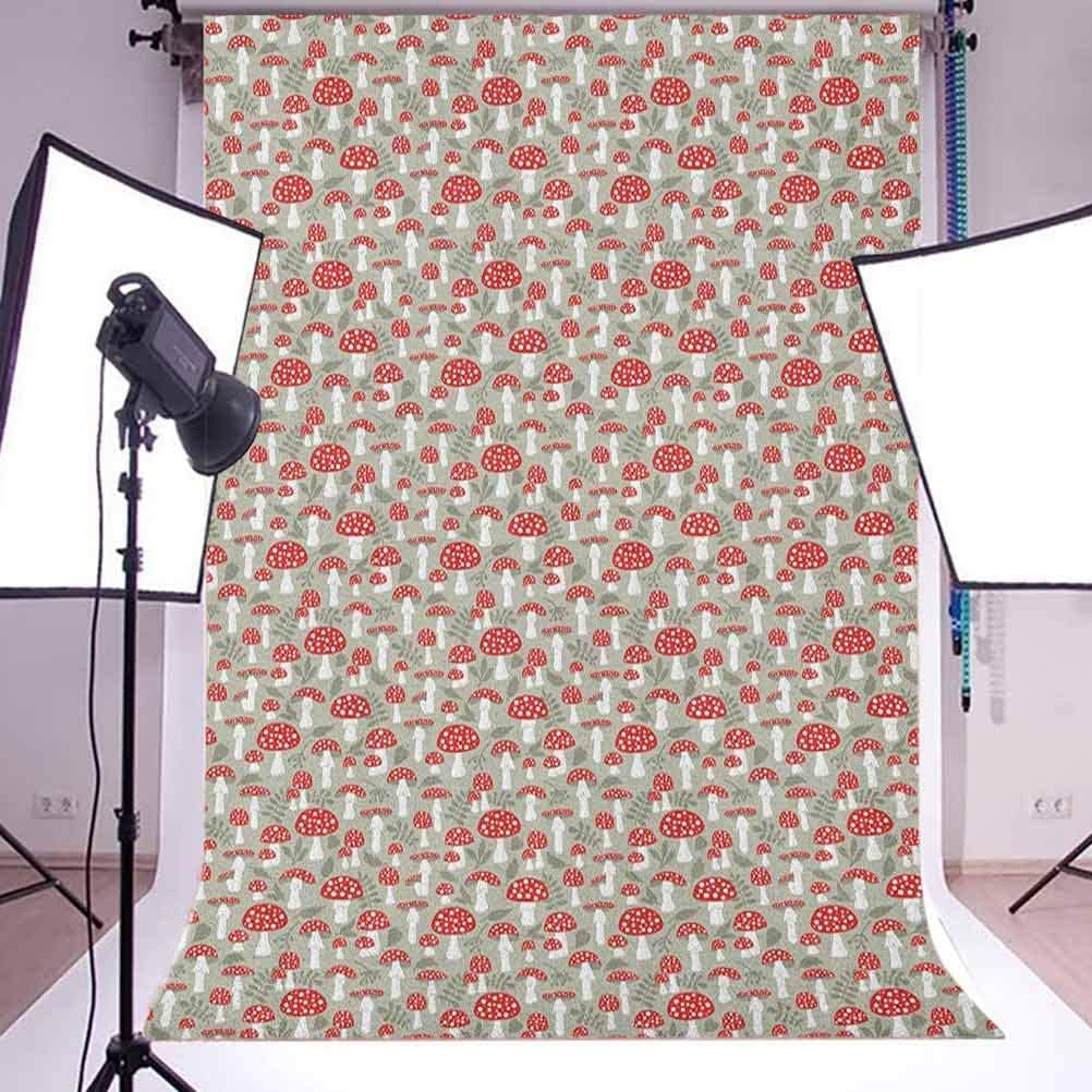 7x10 FT Doodle Vinyl Photography Backdrop,Poisonous Amanita Mushroom Pattern with Foliage and Berry Silhouettes Background for Photo Backdrop Baby Newborn Photo Studio Props