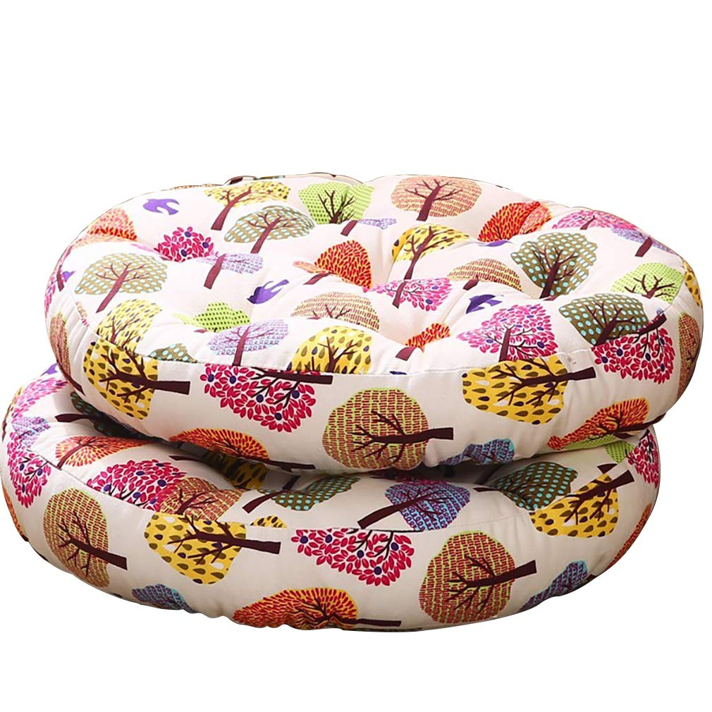 Solid Papasan Patio Seat Cushion Round Chair Pad Home Floor Cushion 22 Inch Cotton Throw Pillows Indoor Outdoor Colorful Tree