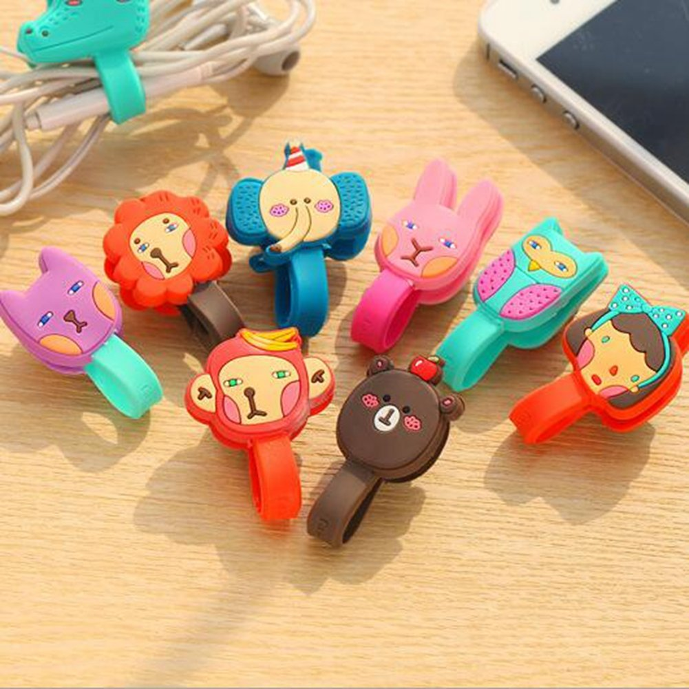 KitMax TM Pack of 12 Assorted Color Novelty Portable Mini Candy Color Cartoon Cellphone Headset Earphone Cable Tie Organizer Wrap