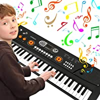 Kids Piano, 61 Key Portable Digital Piano Keyboard with Music Stand and Interactive LCD Screen, Rechargeable Electronic Musical Kid Organ Instrument, Educational Toys Best Gift for Boys&Girls, Black