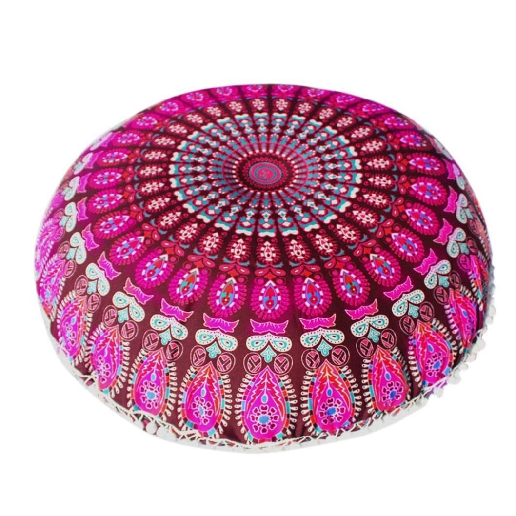Lavany Indian Mandala Pillows Round Bohemian Home Cushion Pillows Case Cover Cushions (A)