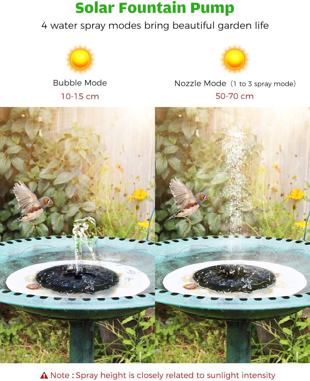 OKMEE Solar Fountain Upgraded 4-in-1 Nozzle, 2.2W Solar Powered Fountain Pump with 4 Water Styles, Solar Bird Bath Fountain for Bird Bath, Pond, Pool, Fish Tank, Aquarium and Garden: Home & Kitchen