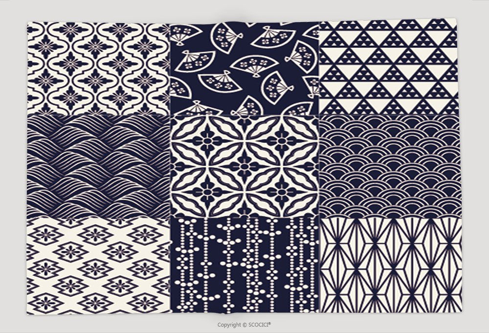 Supersoft Fleece Throw Blanket Seamless Japanese Traditional Mesh Pattern 250298773 by vanfan