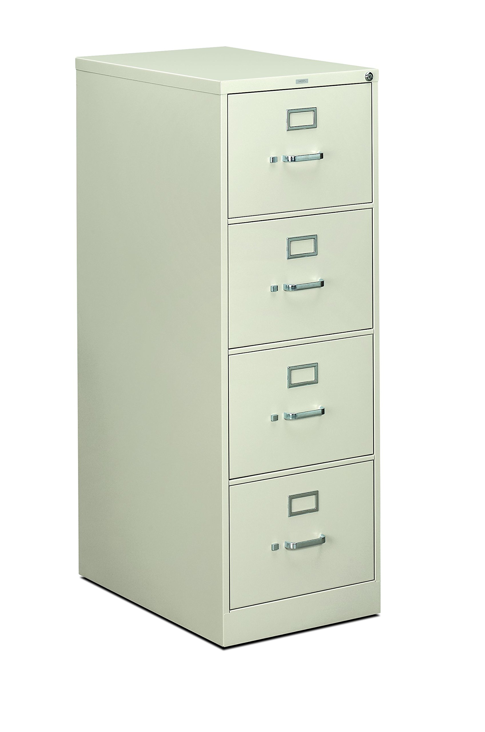 HON 4-Drawer Filing Cabinet - 310 Series Full-Suspension Legal File Cabinet, 26-1/2-Inch Drawers, Light Gray (H314) by HON