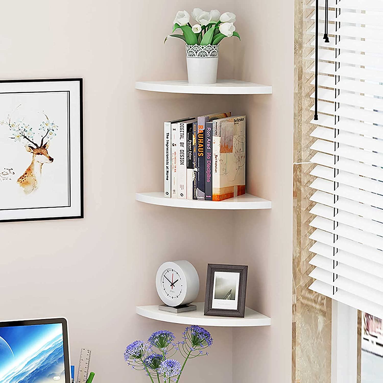 Baffect 3-Pack Corner Free shipping anywhere in the nation Shelf Wooden PVC and Floating Shel Sales results No. 1 Plastic