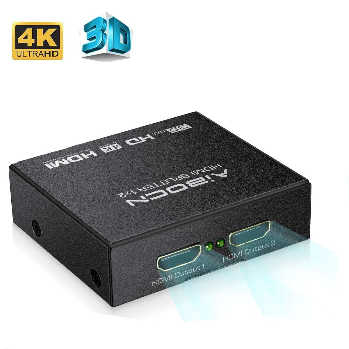 Aibocn HDMI Splitter 1x2, Divisor Splitter 4K 1080P HD 3D HDMI para TV/PS4/PS3/XboX/DVD BLU-Ray, Color Negro