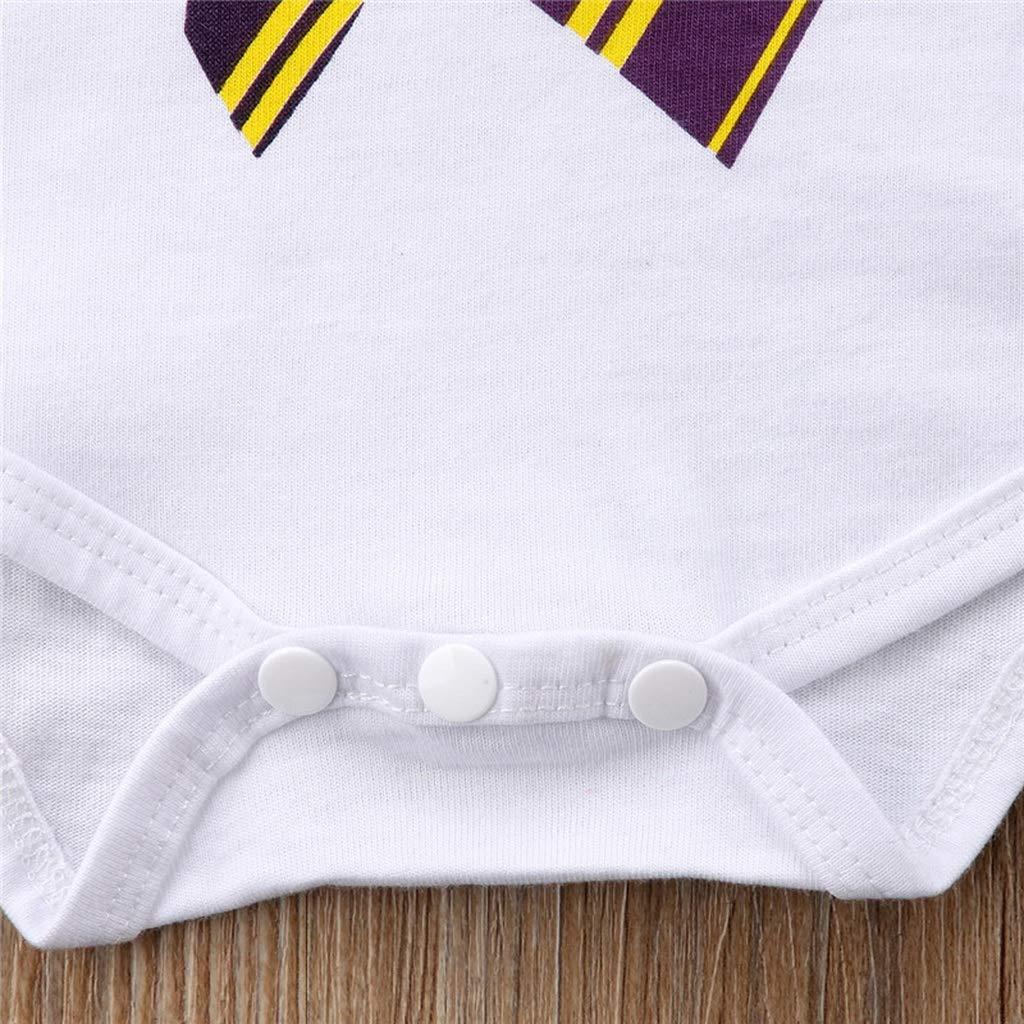 Baby Boys Girls Clothes Short Sleeve Tie Print Cotton Jumpsuit Round Neck Toddler Cute Bodysuit White,18M