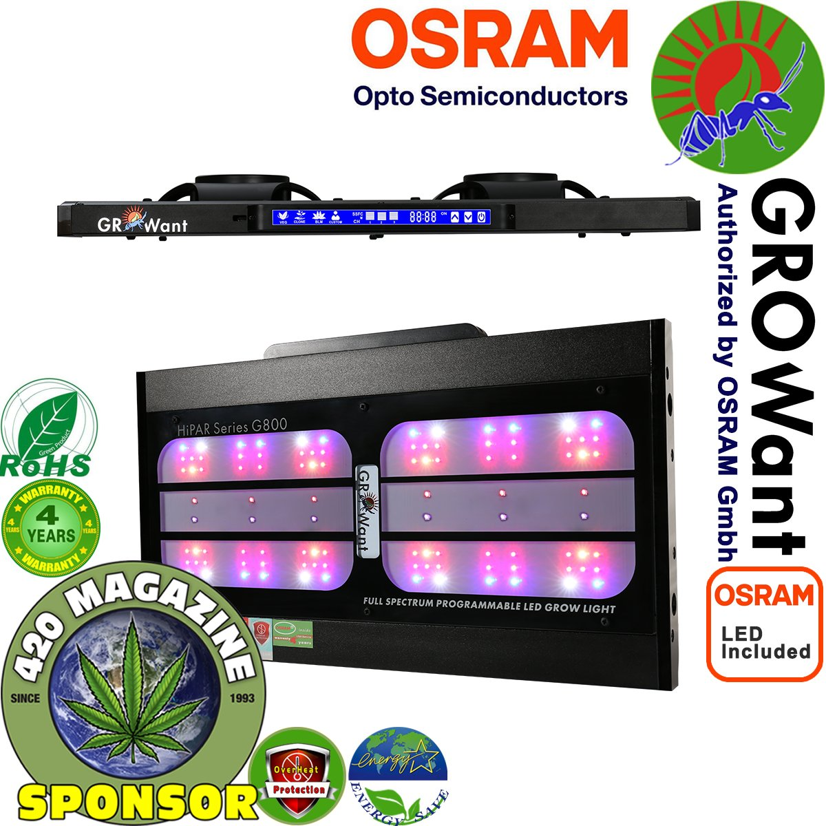 GROWant 800Watt Smart LED Grow Lights | OSRAM Horticulture LEDs Intelligent Spectrum Tunable and Full Power Dimmable for Indoor Plants Veg and Flower - Black