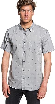 Quiksilver Hombre EQYWT03717 Manga Corta Camisa de Botones - Gris - Large: Amazon.es: Ropa y accesorios